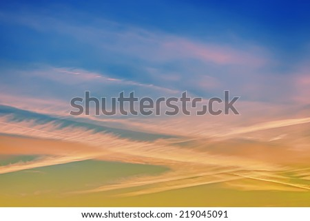 Clouds and sky at sunrise - stock photo