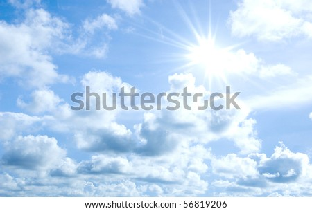 Clouds and sky with sun shining background wallpaper - stock photo
