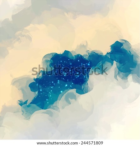 Clouds and stars - stock photo