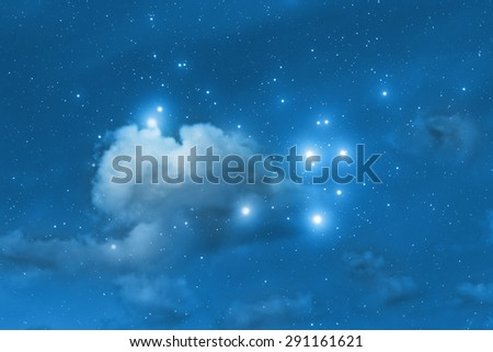 Clouds and stars in deep space. My astronomy work. No elements of NASA or other third party. - stock photo