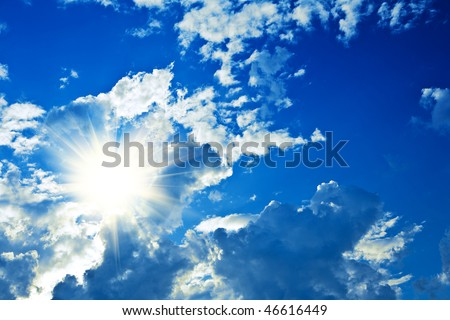 clouds and sun - stock photo