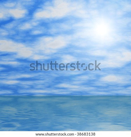 Clouds and sun reflecting in water - stock photo