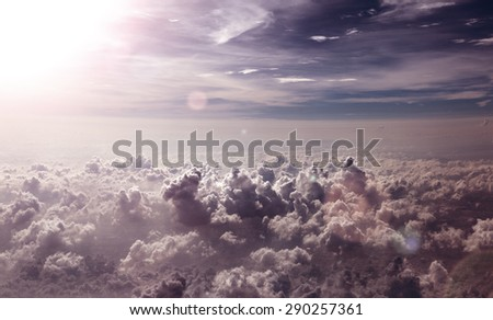 Clouds and sunset sky above.Surreal sky scenery - stock photo