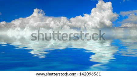 clouds and water background panorama - stock photo