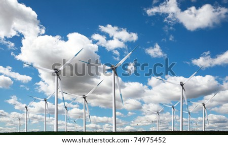 Clouds and windmills panorama