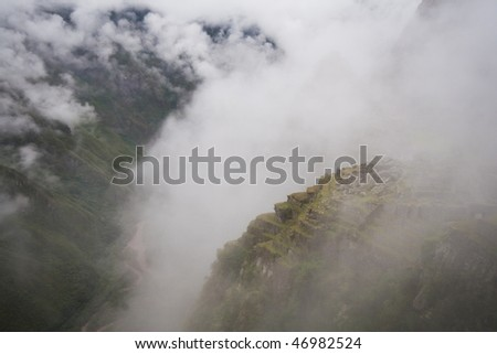 Clouds around Machu Picchu village