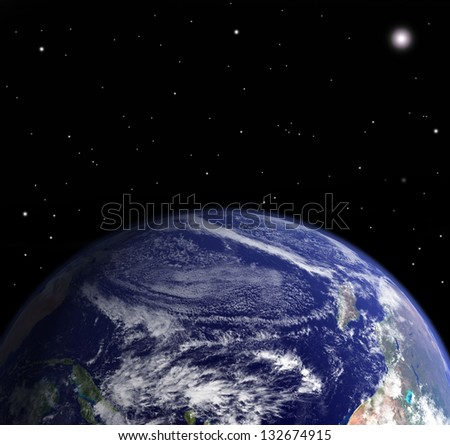 Clouds atmosphere from space - Elements of this image are furnished by NASA - stock photo
