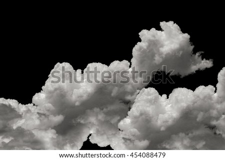 Clouds, black and white background.