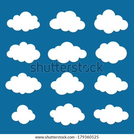 Clouds collection. Cloud shapes pack. Raster.