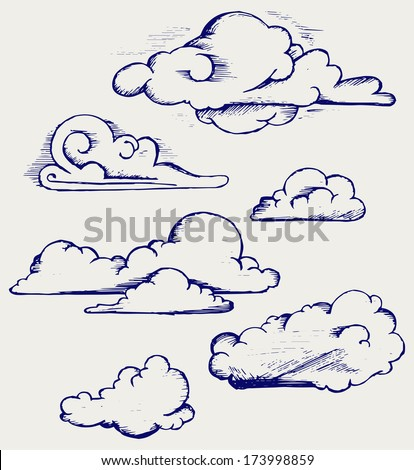 Clouds collection. Doodle style. Raster version - stock photo