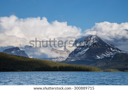 Clouds covering mountains at the Canadian Rockies in Banff National Park, Alberta, Canada - stock photo