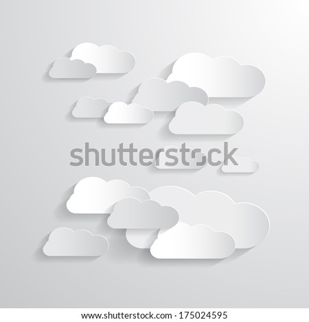 Clouds Cut From Paper Background - Also Available in Vector Version  - stock photo