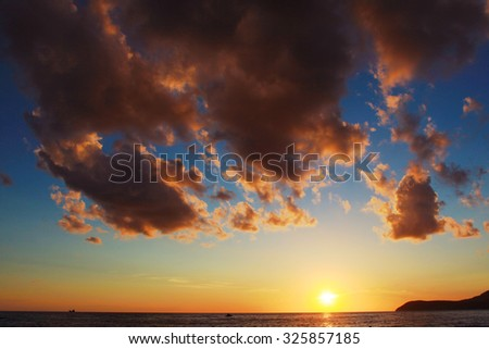 Clouds during sunset over the sea. Adriatic Sea, Montenegro, Bar - stock photo