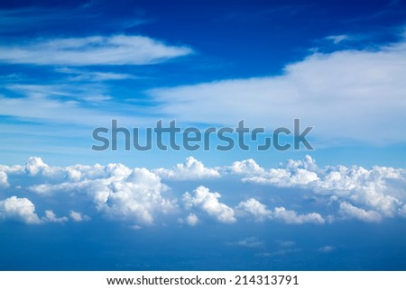 Clouds from plane - stock photo