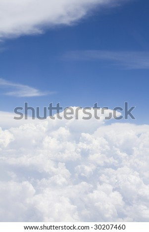 Clouds from view of plane - stock photo