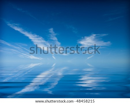 clouds hanging over the sea