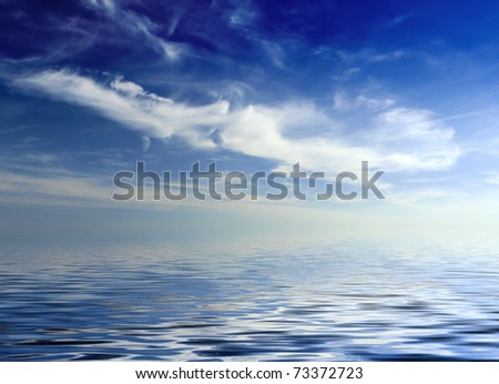 clouds hanging over the sea - stock photo