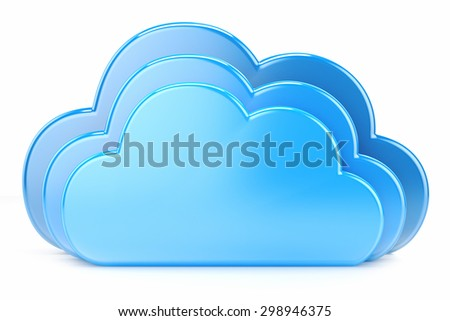 Clouds icon to download data isolated on white background