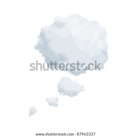 Clouds in shape of a thinking bubble isolated on white - stock photo