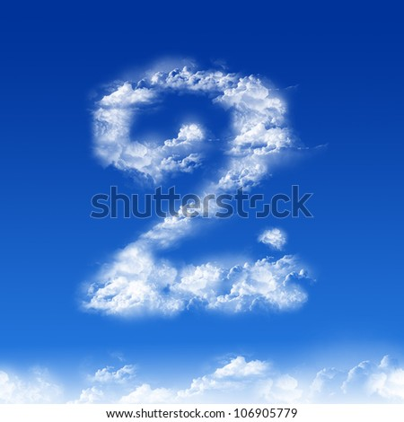 clouds in shape of figure two - stock photo