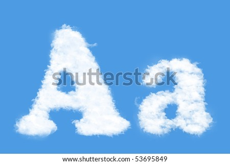 Clouds in shape of the letter A - stock photo