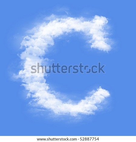 Clouds in shape of the letter C - stock photo