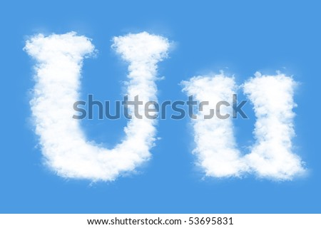 Clouds in shape of the letter U - stock photo