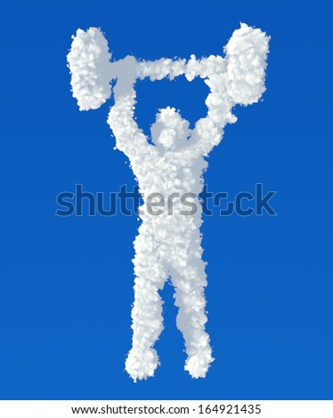 Clouds in shape of weightlifter icon on a blue background - stock photo