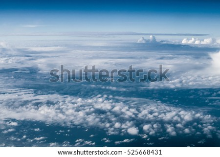 Clouds in sky atmosphere panorama. Outdoor planet