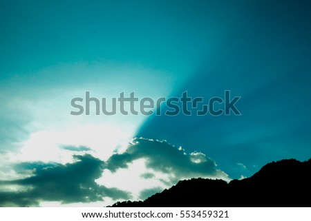clouds in the blue sky. Beautiful Blue Sky Background Template With Some Space for Input Text Message Below Isolated on Blue
