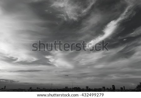 clouds in the blue sky black and white style