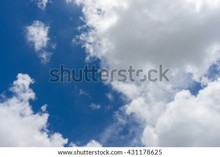Clouds in the blue sky / Blue sky background with clouds / blue sky with clouds closeup / White clouds in blue sky  - stock photo