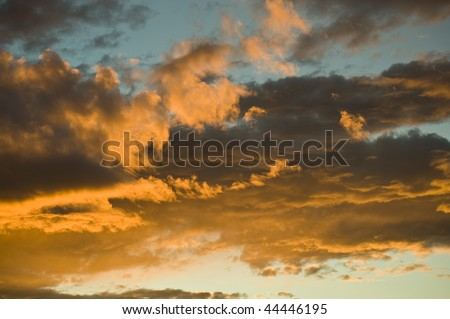 Clouds in the red sky, France, Anthon