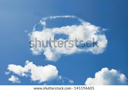 Clouds in the shape of eco car. - stock photo