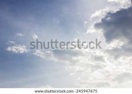 Clouds in the sky with the imagination of a child. Tales of endless light Freedom of thought in childhood. - stock photo
