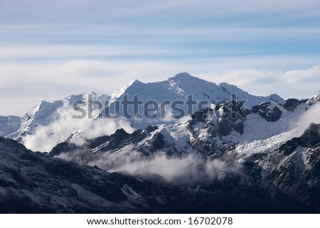 Clouds in valley - stock photo