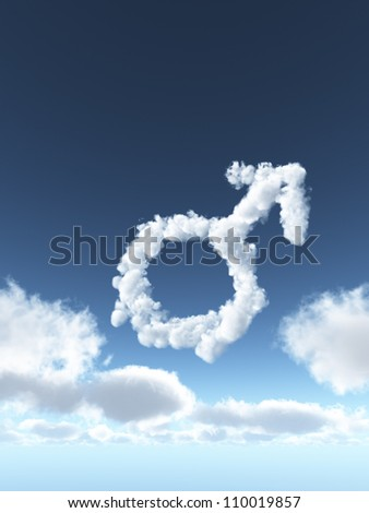 clouds make the shape of male symbol - 3d illustration