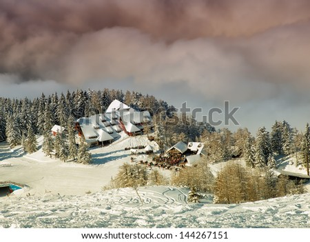 Clouds near the high mountain ski resort known as Krvavec, Slovenia. - stock photo