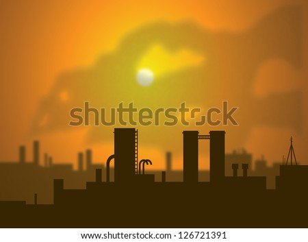 Clouds of smoke rise from factory smoke stacks, filling the air with CO2 emissions. This contributes to increased green house gases and global warming. Simulated depth of field used. - stock photo