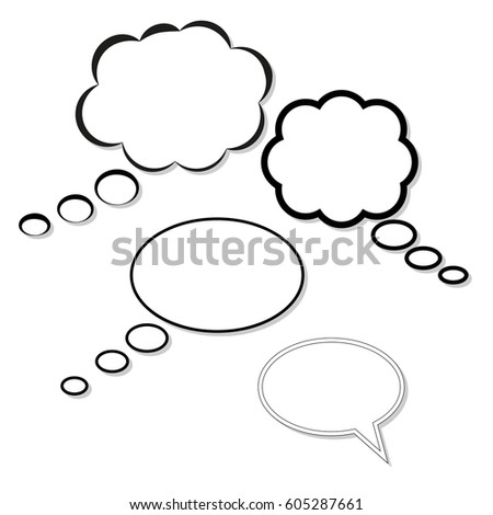 clouds of thoughts, isolated on white background of different round shape