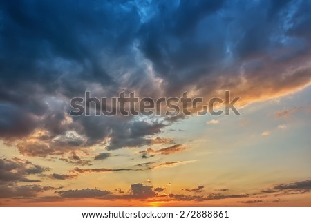Clouds on sky at sunset - stock photo