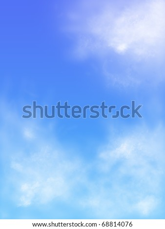 clouds on the background of blue sky - stock photo