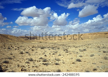 Clouds on the sky and crater Ramon in Negev desert, Israel                                - stock photo