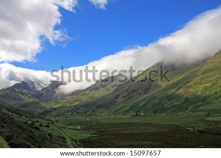 Clouds on top of Snowdonia Mountain range North Wales