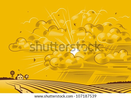 Clouds over fields - stock photo