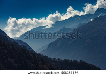 Clouds over Kongde ridge in the Himalayas,Nepal
