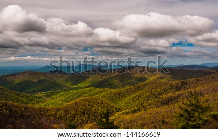 Clouds over the Blue Ridge Mountains, seen from Blackrock Summit, Shenandoah National Park, Virginia. - stock photo
