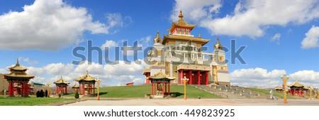 Clouds over the Buddhist temple. Golden Abode of Buddha Shakyamuni in Elista, Republic of Kalmykia, Russia  - stock photo