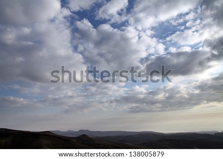 Clouds over the desert near the Dead Sea