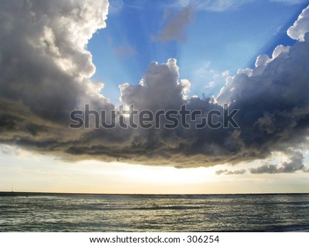 Clouds over the ocean from Waikiki Beach, Hawaii